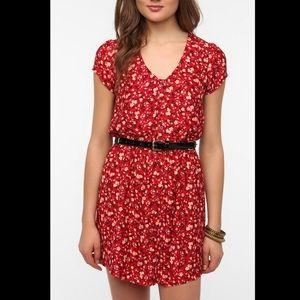 Red floral mini dress sz S